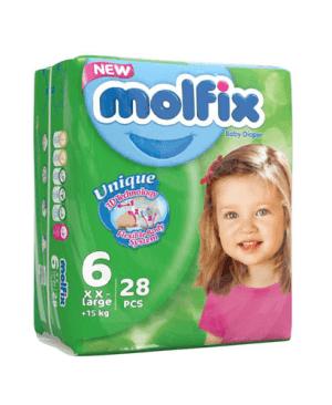 پوشک بچه molfix سایز ۶، ۲8 عددی