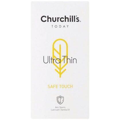 کاندوم چرچیلز مدل Safe Touch فوق العاده نازک حاوی ماده اسپرم کش با اسانس وانیل و روان کننده