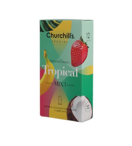کاندوم چرچیلز مدل Tropical، بسته 12 عددی