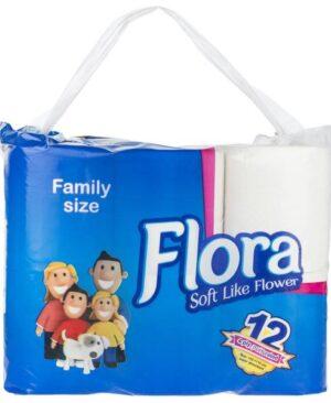 دستمال توالت 12 قلو چهارلايه فلورا