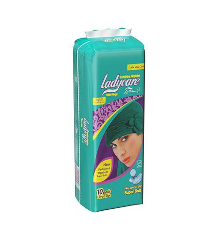 نوار بهداشتی بالدار مشبک سایز بزرگ لیدی کر Ladycare بسته 10 عددی