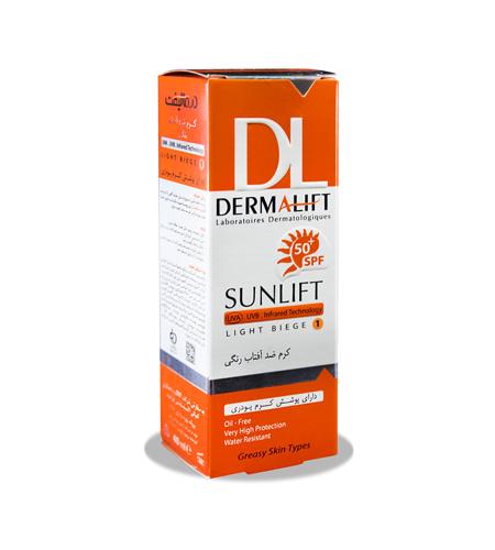 کرم ضد آفتاب رنگی درمالیفت فاقد چربی حجم 40 میلی لیتر